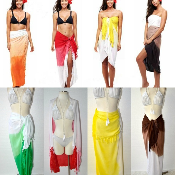 e1f3c163562d2 Swim | Beach Gypsy Ombre Fringe Multi Wear Sarong Wrap | Poshmark